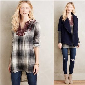 Anthro Floreat Black Plaid Embroidered Tunic
